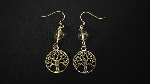 CELTIC EARRINGS Clear Quartz Gemstone Tree Of Life [INSPIRATION CREATIVITY]