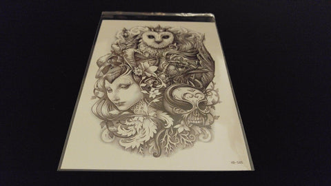 Fantasy Series Owl King Lady Queen TEMPORARY HENNA TATTOO Waterproof Transfer