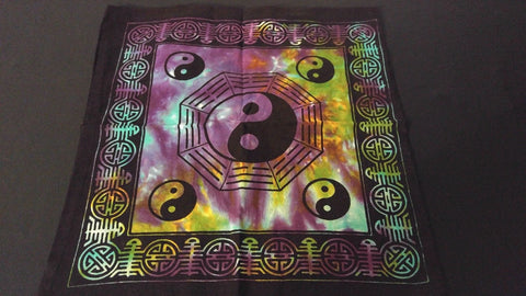 "18"" x 18"" YING YANG Hippie Tie Dye Cotton Cloth HENNA ARTIST TOTE BAG ~ India"