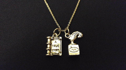 "WRITERS GIFT TRUE STORY INK QUILL High Quality 316 Stainless Steel 20"" Necklace"