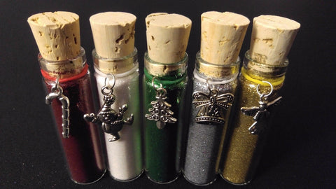 5pc CHRISTMAS Henna Tattoo Quality Fine Cosmetic Body Glitter Cork Bottle Set