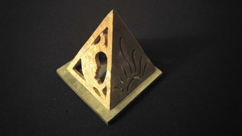 "4"" x 4"" Soapstone Pyramid Cone Incense Burner / Tealight Candle Holder"