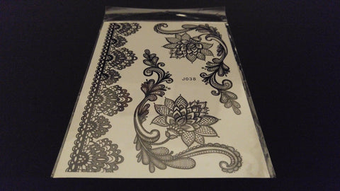BLACK HENNA TATTOO Temporary Waterproof Transfer ~ Lace Floral Bracelet Jewelry