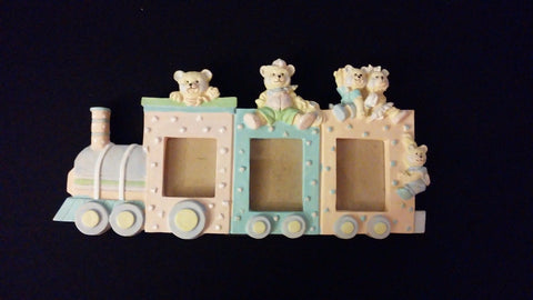 Resin Standing Picture Frame For 3 Photos Toy Train & Bears Nursery Baby Photos