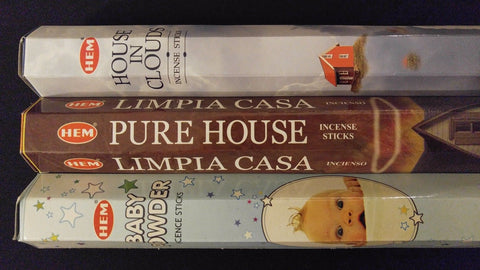 House In Clouds Baby Pure House 60 HEM Incense Sticks 3 Scent Sampler Gift Set