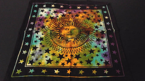 "18"" x 18"" SUN & MOON Hippie Tie Dye Cotton Cloth HENNA ARTIST TOTE BAG ~ India"
