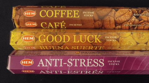 Coffee Good Luck Anti-Stress 60 HEM Incense Sticks 3 Scent Sampler Gift Set