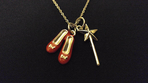 "DOROTHY OZ RED SHOES MAGIC WAND High Quality 316 Stainless Steel 20"" Necklace"