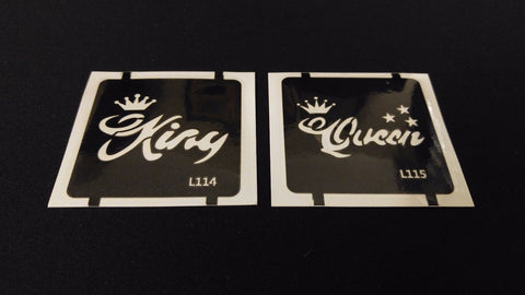 2pc King / Queen GLITTER TATTOO STENCIL SET For Henna Airbrush Facepaint