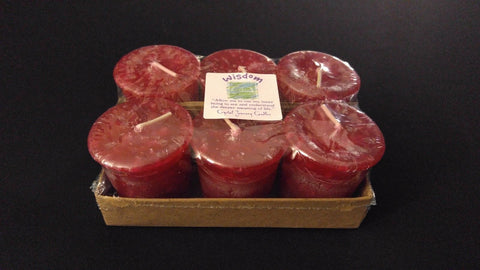 WISDOM - Red Crystal Journey Soy Reiki Healing Herbal Votive Candle 6 Pack