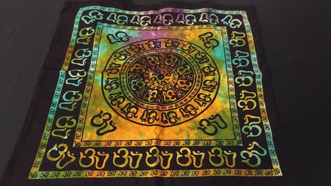 "18"" x 18"" OM CHAKRA Hippie Tie Dye Cotton Cloth HENNA ARTIST TOTE BAG ~ India"