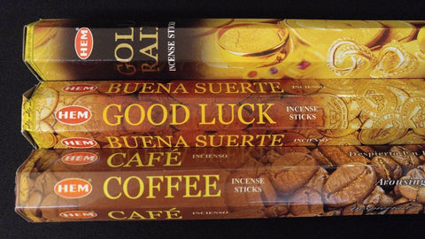 Gold Rain Good Luck Coffee 60 HEM Incense Sticks 3 Scent Sampler Gift Set