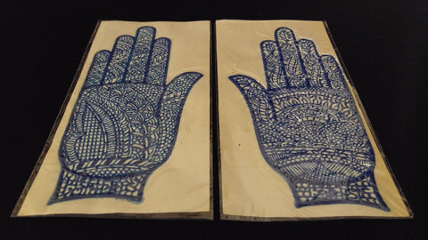 HENNA TATTOO STENCILS Blue Left & Right Hand Sticky Back Reusable Style Varies
