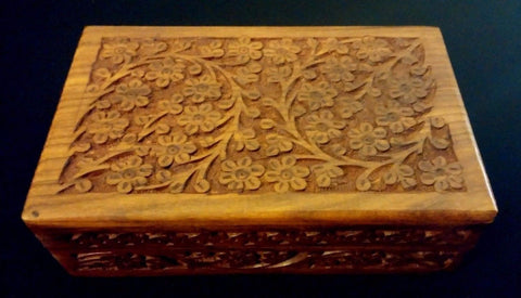 5x8 Carved Wooden Box Floral Design TAROT OR INCENSE BOX / HERB STORAGE ~ India