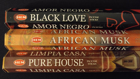 Black Love African Musk Pure House 60 HEM Incense Stick 3 Scent Sampler Gift Set