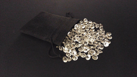 10x 1oz Clear Diamond Acrylic Confetti Wedding Table Toss + Black Burlap Bag 4ct