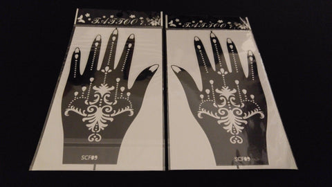 Left & Right Hand HENNA TATTOO STENCIL Sticky Back Glitter Airbrush Facepaint