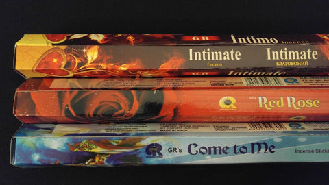 INTIMATE Red Rose Come To Me 60 GR Incense Sticks 3 Scent Sampler Gift Set