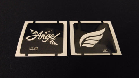 2pc Angel Wings / Wing GLITTER TATTOO STENCIL SET For Henna Airbrush Facepaint