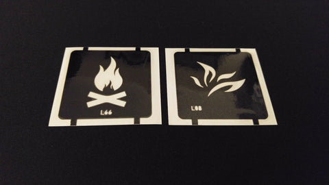 2pc Camp Fire / Flames GLITTER TATTOO STENCIL SET For Henna Airbrush Facepaint