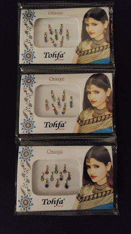 3pc BODY DOTS / Bindi Body Jewels Self-Adhesive Decoration Henna Tattoos ~ India