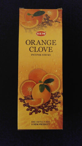 ORANGE CLOVE 6 Boxes of 20 = 120 HEM Incense Sticks Bulk Case Retail Display Box