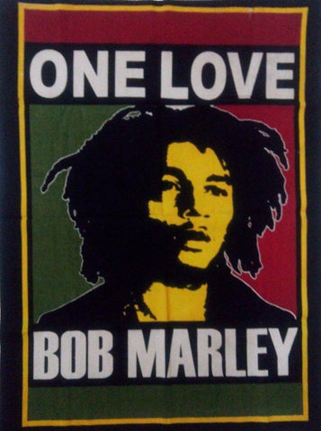 "Bob Marley Reggae One Love 30"" x 40"" Hanging Fabric Print Thin Tapestry ~ India"
