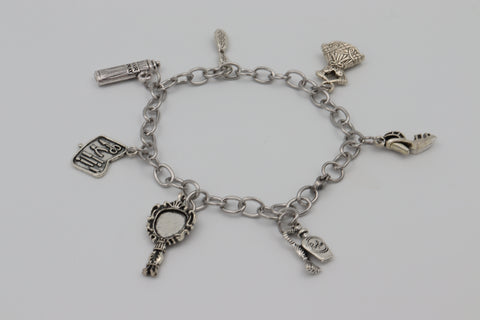Charm Bracelet BEAUTY Mirror Perfume Heels Stainless Steel Silver Boxed Gift