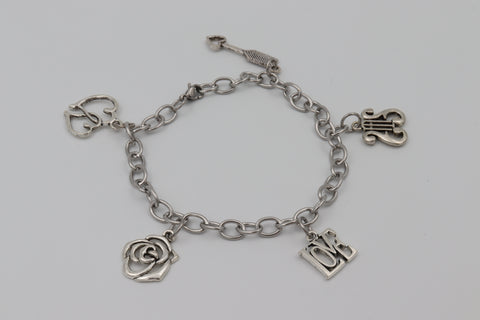 Charm Bracelet VALENTINES DAY LOVE ARROW ROSE Stainless Steel Silver Boxed Gift