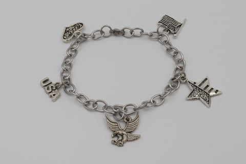 Charm Bracelet USA PATRIOT Freedom Eagle Flag Stainless Steel Silver Boxed Gift