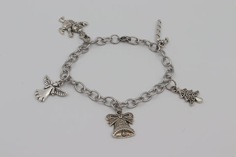 Charm Bracelet CHRISTMAS TREE ANGEL CANE BELL Stainless Steel Silver Boxed Gift