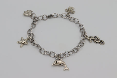 Charm Bracelet OCEAN Turtle Dolphin Starfish Stainless Steel Silver Boxed Gift