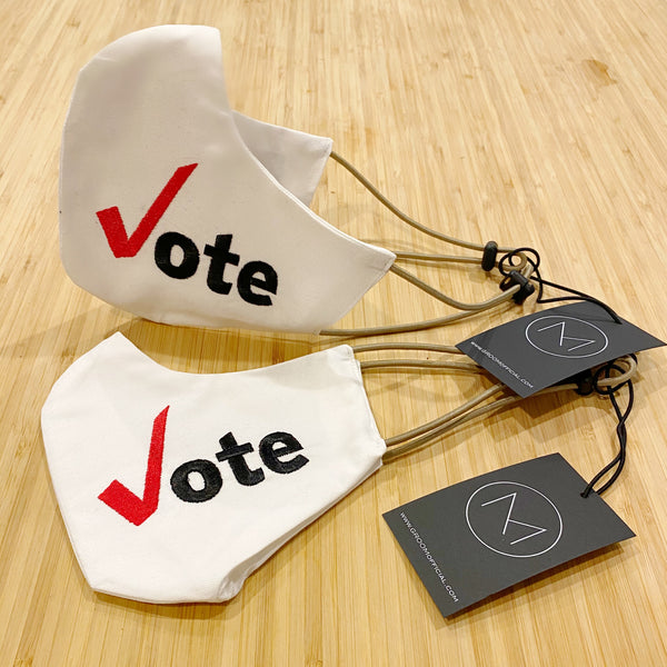 "LET'S ""VOTE"" !!! LIMITED Couture Fabric Face Covering, Limited Embroidered ""VOTE"" NOW AVAILABLE!!"