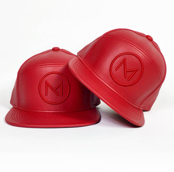 Limited Crimson Faux Leather Logo Cap