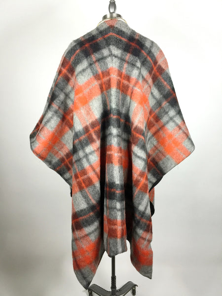 Legion Of GROOM  Mohair Wool Plaid Zipper Poncho