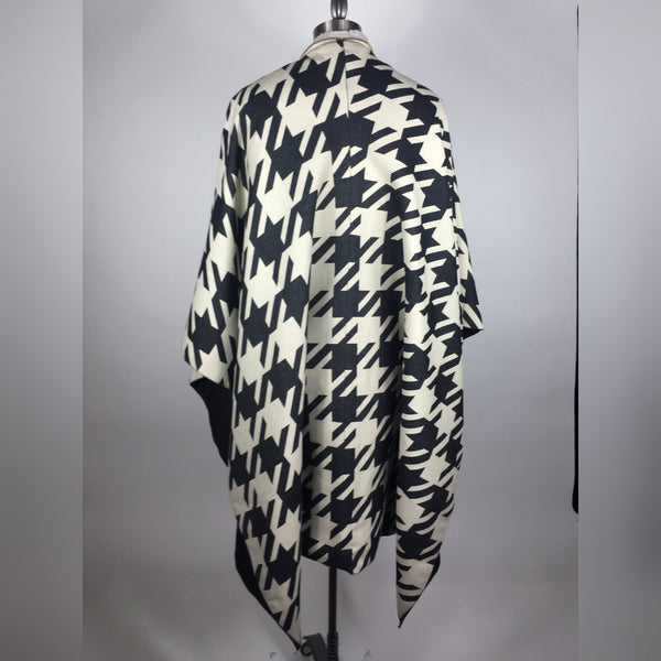 Legion Of GROOM  Wool Jumbo Houndstooth Zipper Poncho