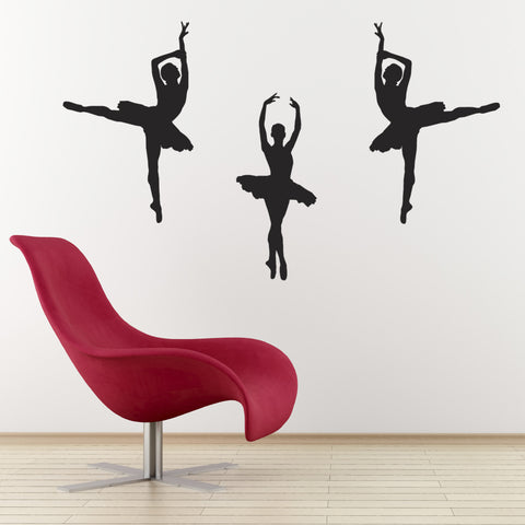 Set of 3 Ballet Dancer Wall Stickers - Black