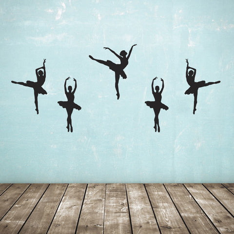 Set of 5 Ballet Dancer Wall Stickers - Black