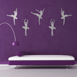 Set of 5 Ballet Dancer Wall Stickers - Silver