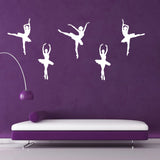 Set of 5 Ballet Dancer Wall Stickers - White