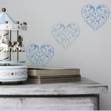 CraftStar Flourish & Flower Heart Stencil in blues