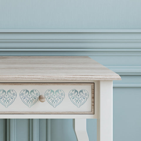 Small Flourish & Flower Pattern Heart Stencil on Furniture