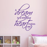 A Dream Is A Wish Your Heart Makes Wall Sticker - Purple