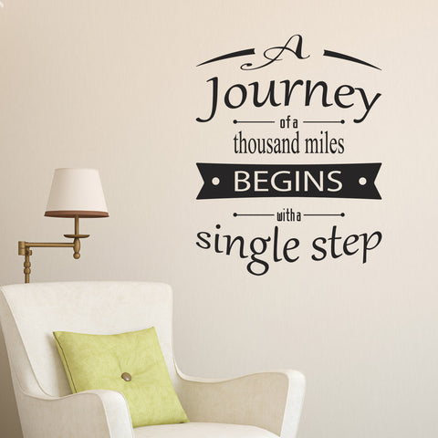 A Journey Of A Thousand Miles Wall Sticker - Black