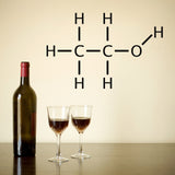Alcohol Molecule Wall Sticker - Black