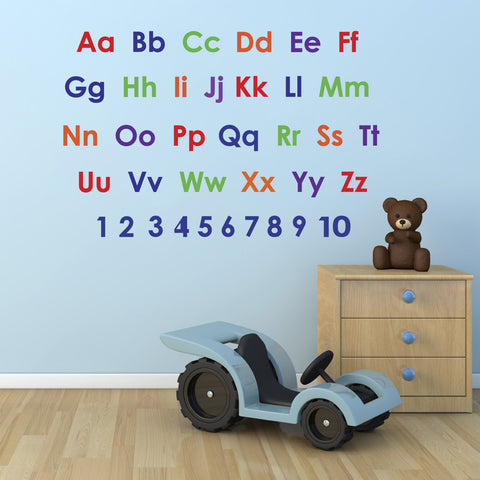 Alphabet and Numbers Wall Sticker Pack - Eductaional Nursery Stickers