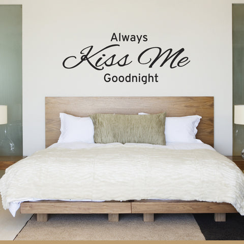 Always Kiss Me Goodnight Bedroom Wall Sticker - Black