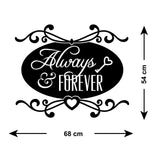 Always and Forever Wall Sticker - Size Guide