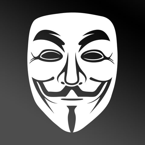 Anonymous Mask Car Sticker - White Vinyl