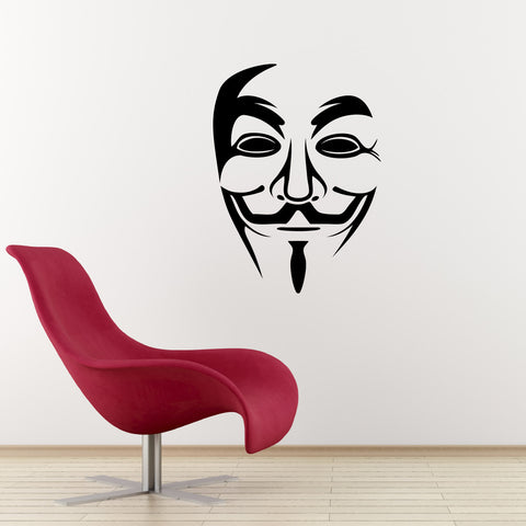 Anonymous Mask Wall Sticker - Black